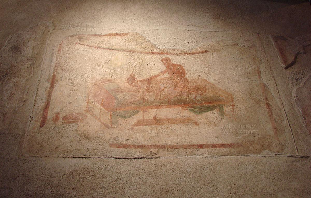 Город Помпеи. Цветная фреска.