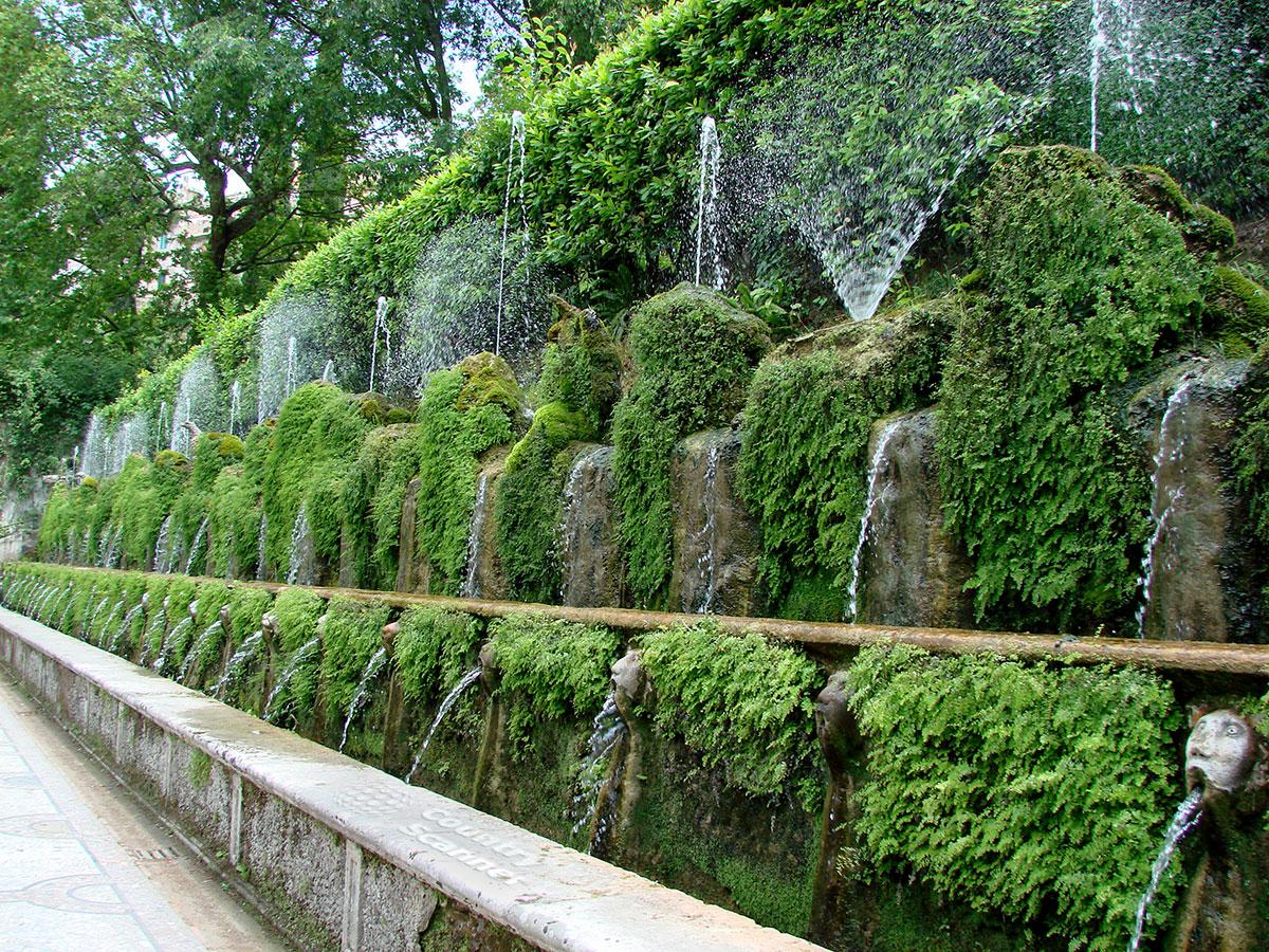 Вилла д' Эсте. Аллея ста фонтанов.