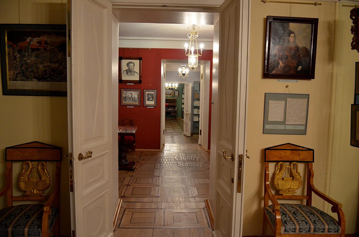Перспективный вид на анфиладу комнат квартиры Пушкина на Арбате.