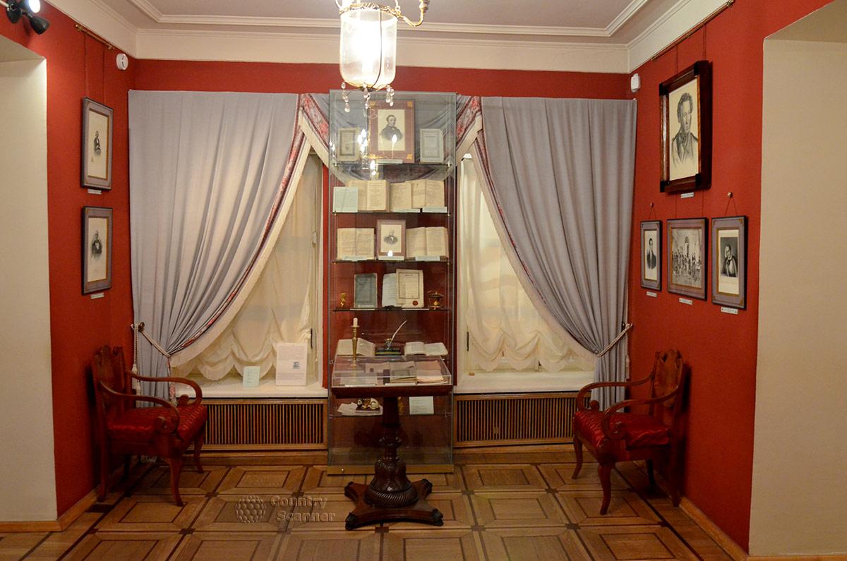Оформление квартиры Пушкина на Арбате, одна из экспозиций.