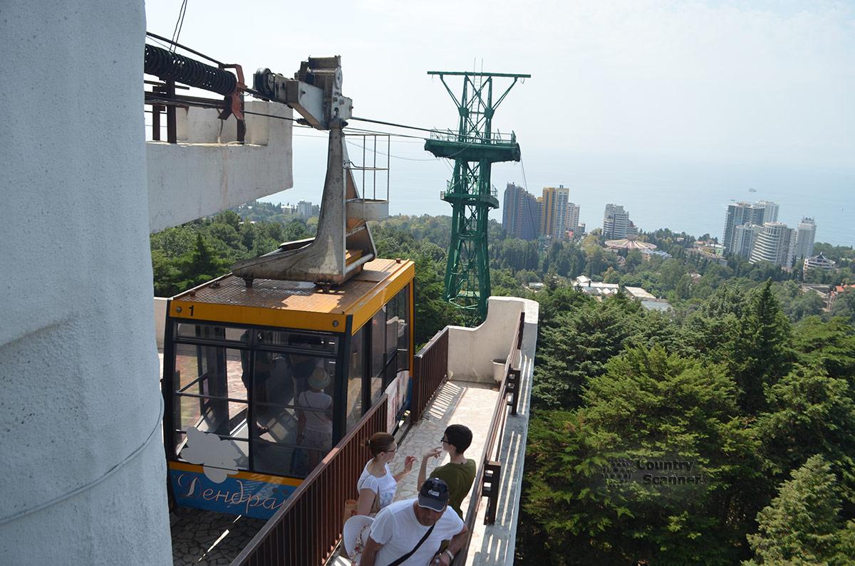Туристы на вершине смотровой башни, куда прибывают пассажиры канатной дороги сочинского дендрария.