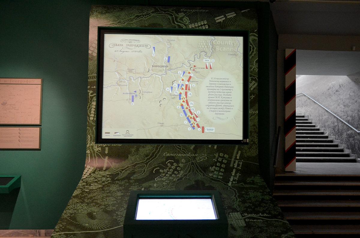 Схема расположения войск Кутузова и Наполеона перед началом сражения. Изучают перед осмотром бородинской панорамы.