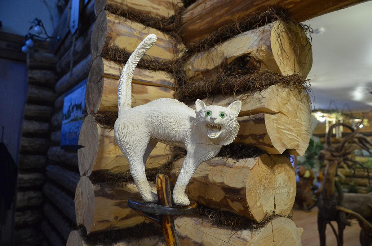 Белоснежный кот в музее Лес-Чудодей.