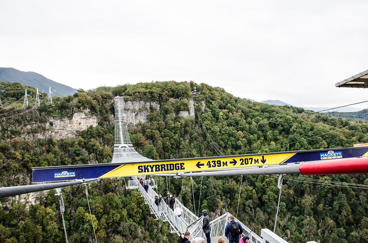 Вид на висячий мост Скайпарка