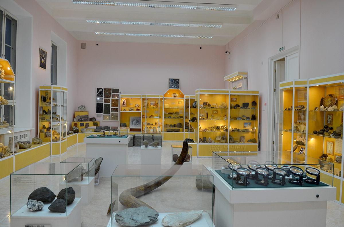 Геологический музей Вернадского, общий вид экспозиции своеобразной кунсткамеры.