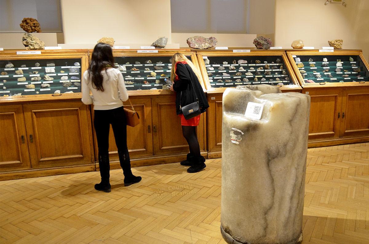 Посетители у витрин геологического музея Вернадского. На переднем плане колонна из донбасского галита (каменной соли).