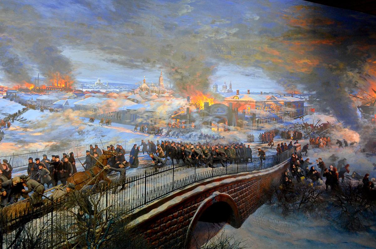 Музей Пресня, его главный экспонат – диорама художника Дешалыта о рабочем восстании декабря 1905 года на Красной Пресне.