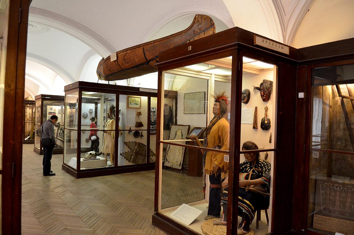 Облик североамериканских индейцев, их одежды, предметы быта и промысловые орудия представлены в витринах первого этажа Кунсткамеры. Наверху пирога из березовой коры.