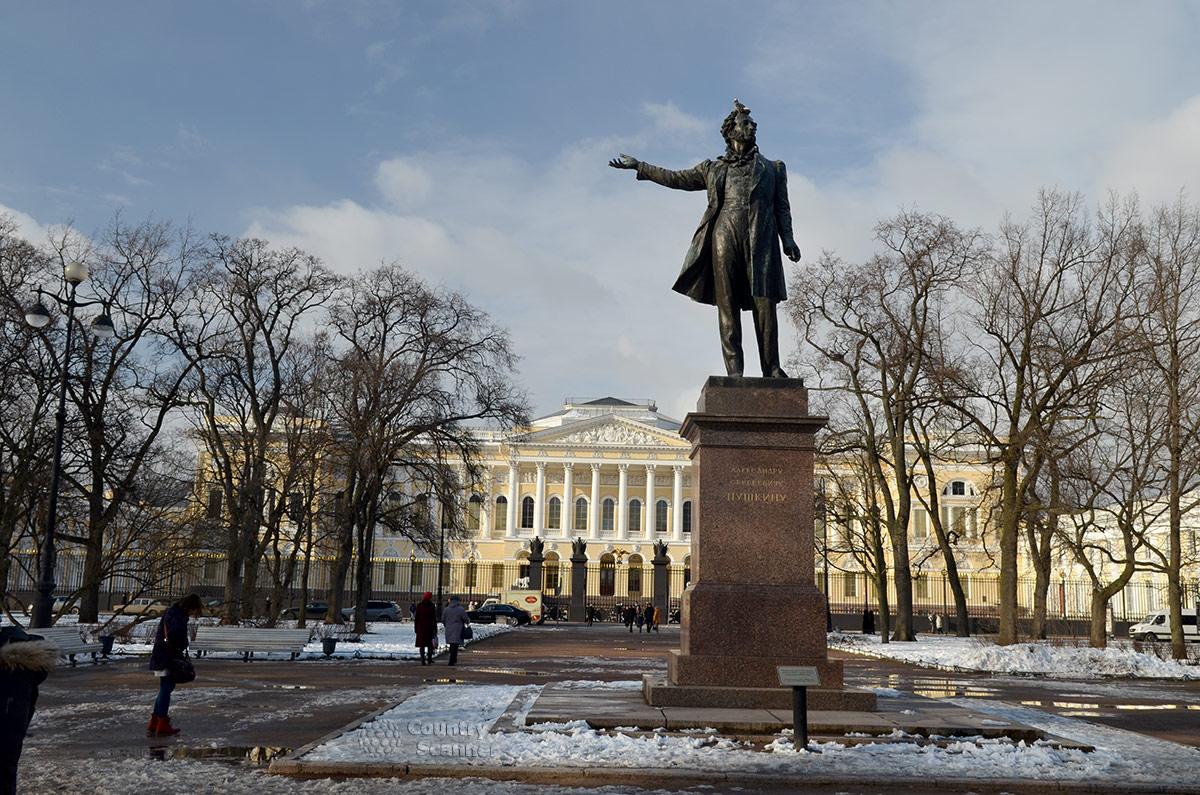 Памятник Пушкину на площади Искусств перед Русским музеем, выполненный молодым скульптором Аникушиным. Поэт изображен декламирующим свои стихи.