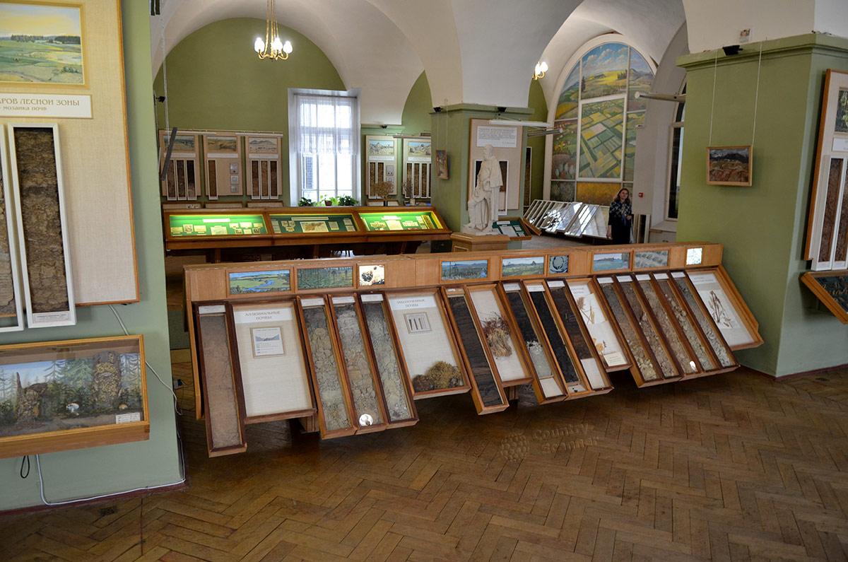 Между колоннами с информацией о типах почв в музее почвоведения расположена экспозиция о человеческом влиянии на состояние плодородного слоя. Показаны виды деятельности и их воздействие на состояние почв.