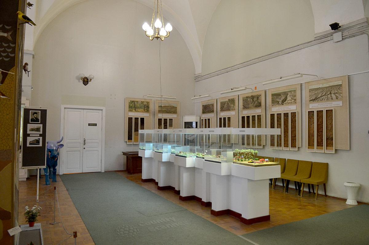 На белых постаментах в зале музея почвоведения представлены красочные макеты, иллюстрирующие работу людей по возделыванию почвы в разные эпохи.