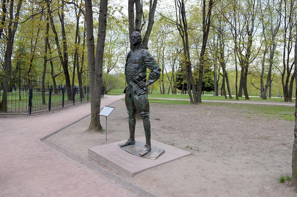 Возле домика Петра, около деревьев установлена скульптура царя во весь его 2-х метровый рост. Отливал статую автор оригинала, установленного в Антверпене, наш современник Франдулян.