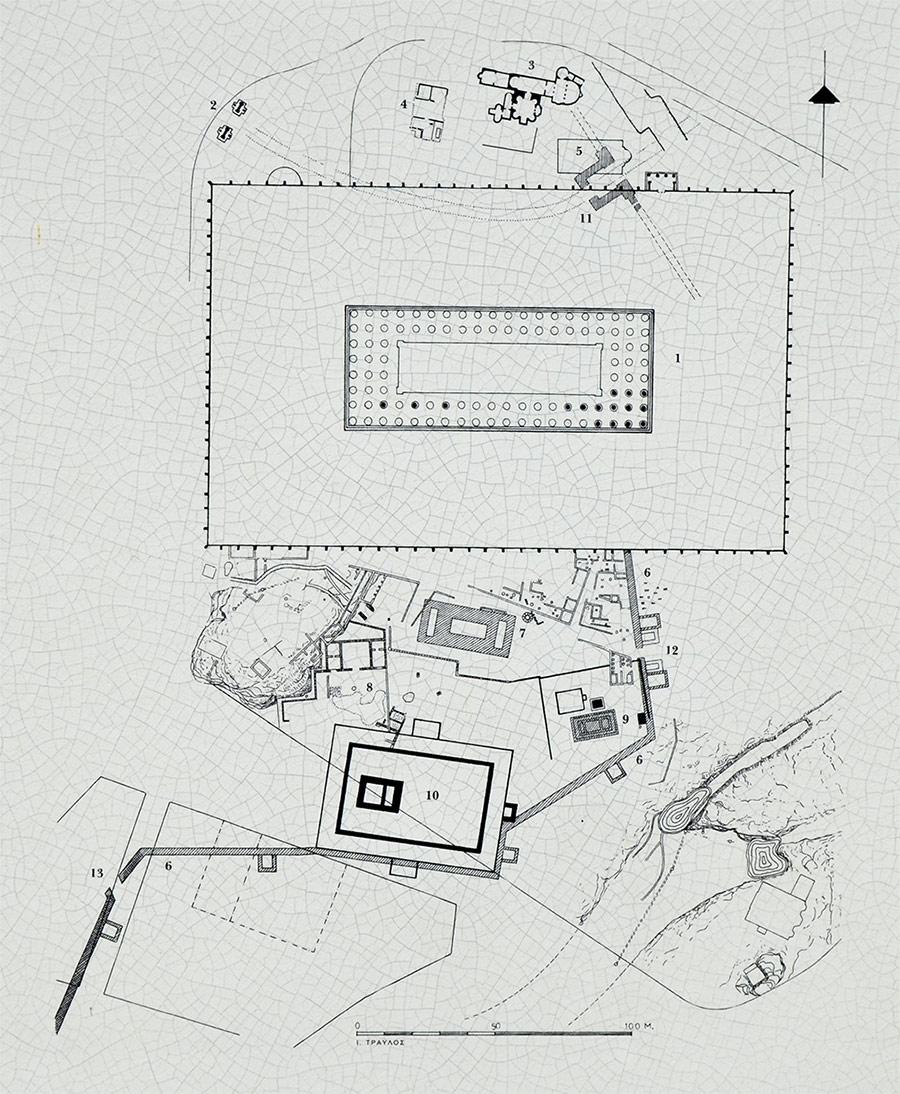 Элементарный путеводитель по территории храма Зевса Олимпийского и окрестностям – схема археологических раскопок находящихся здесь остатков древних зданий и сооружений.