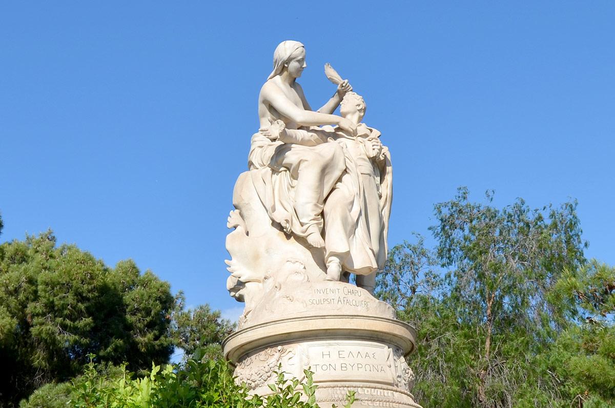 """Памятник Байрону в Афинах. """"Греция - Байрону""""."""