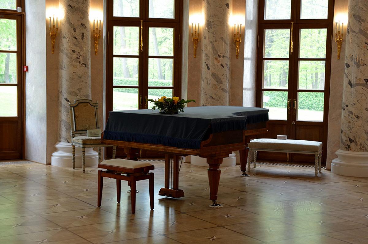 Рояль, непременный атрибут всех дворянских собраний, занимает почетное место и в Овальном зале усадьбы Остафьево. Отсюда видна великолепная липовая аллея – Русский Парнас.