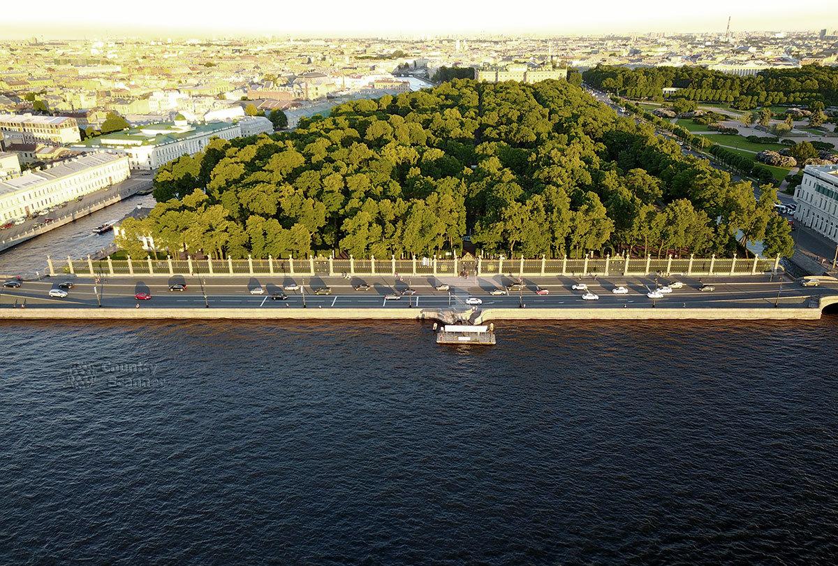 Территория летнего сада с высоты полета коптера, начиная от Невской ограды со стороны русла реки, с северной оконечности.