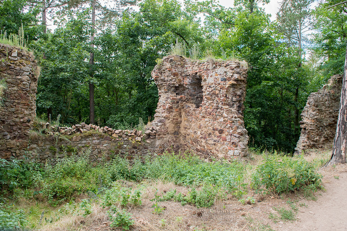 Развалины старинных крепостных стен замка Жебрак дают представление о применяемых в древности строительных материалах.
