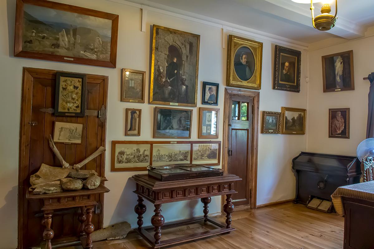 Личные произведения художника в основном сосредоточены в кабинете усадьбы Поленова, где они уживаются с его палеонтологической коллекцией.