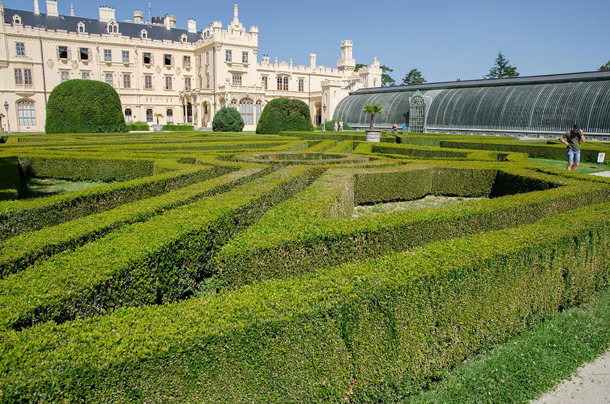 Геометрические орнаменты стриженных живых изгородей на фоне главного здания и оранжереи замка Леднице.