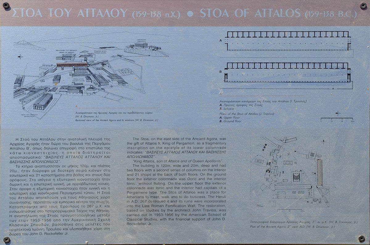На подробной схеме показано, как Стоя Аттала располагалась относительно других объектов центральной части древних Афин.