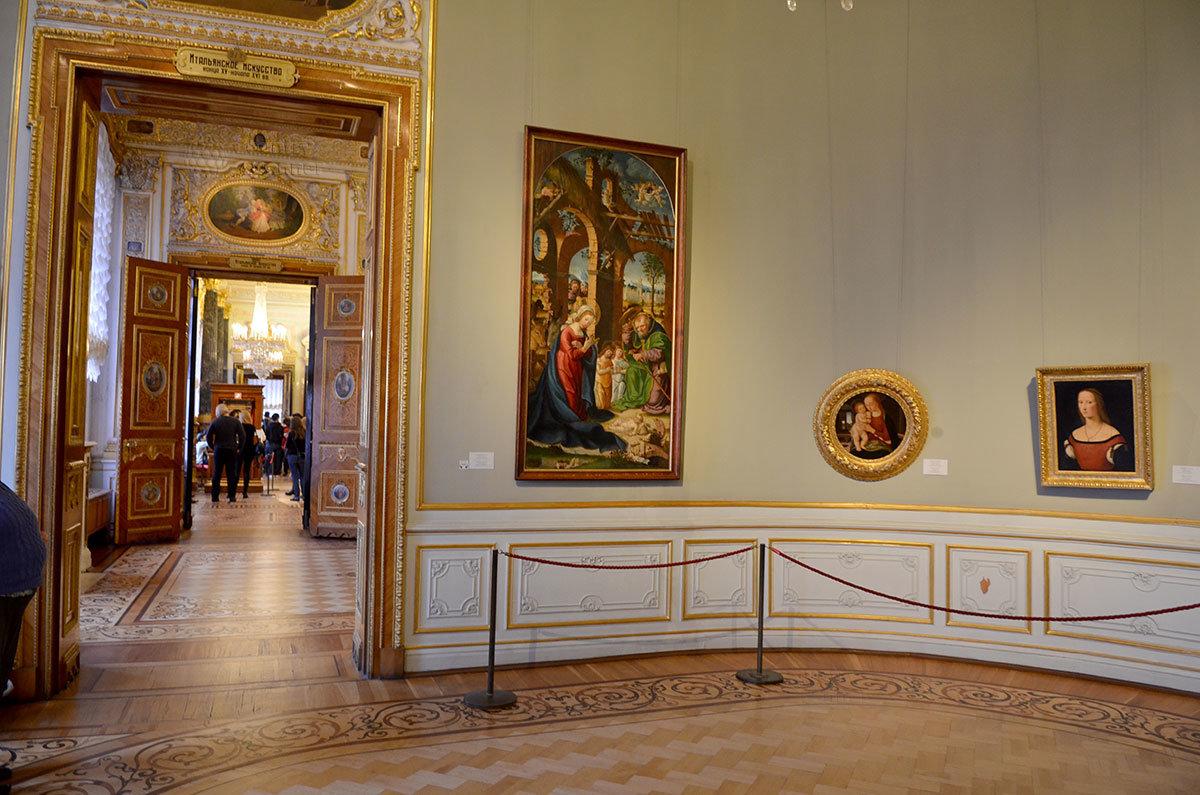 Эрмитаж имеет несколько залов итальянской живописи разных исторических периодов.