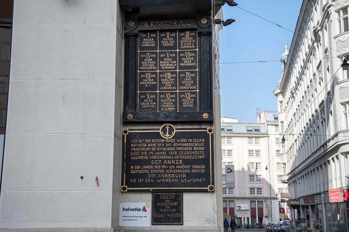 Исторические деятели, участвующие в музыкальном представлении часов Ankeruhr, перечислены на табличке рядом с проходом под галереей.