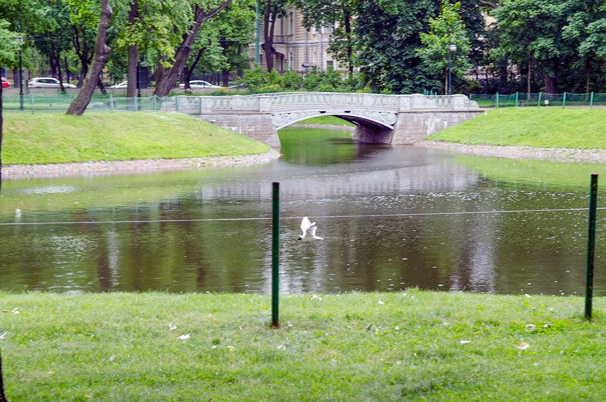 Чугунный мост по проекту Карла Росси – одна из достопримечательностей, украшающих Михайловский сад.