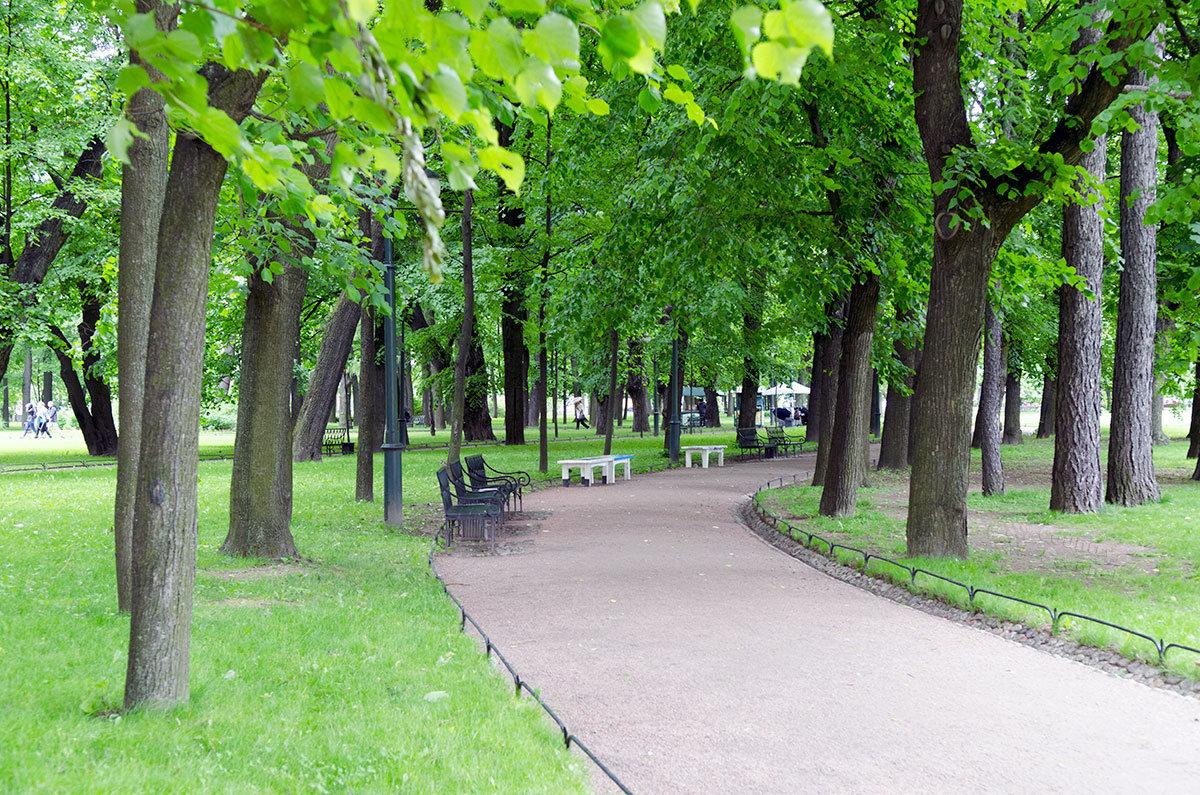 Тенистые аллеи и парковые скамейки, атмосфера приятного отдыха запоминаются всем, посетившим Михайловский сад.