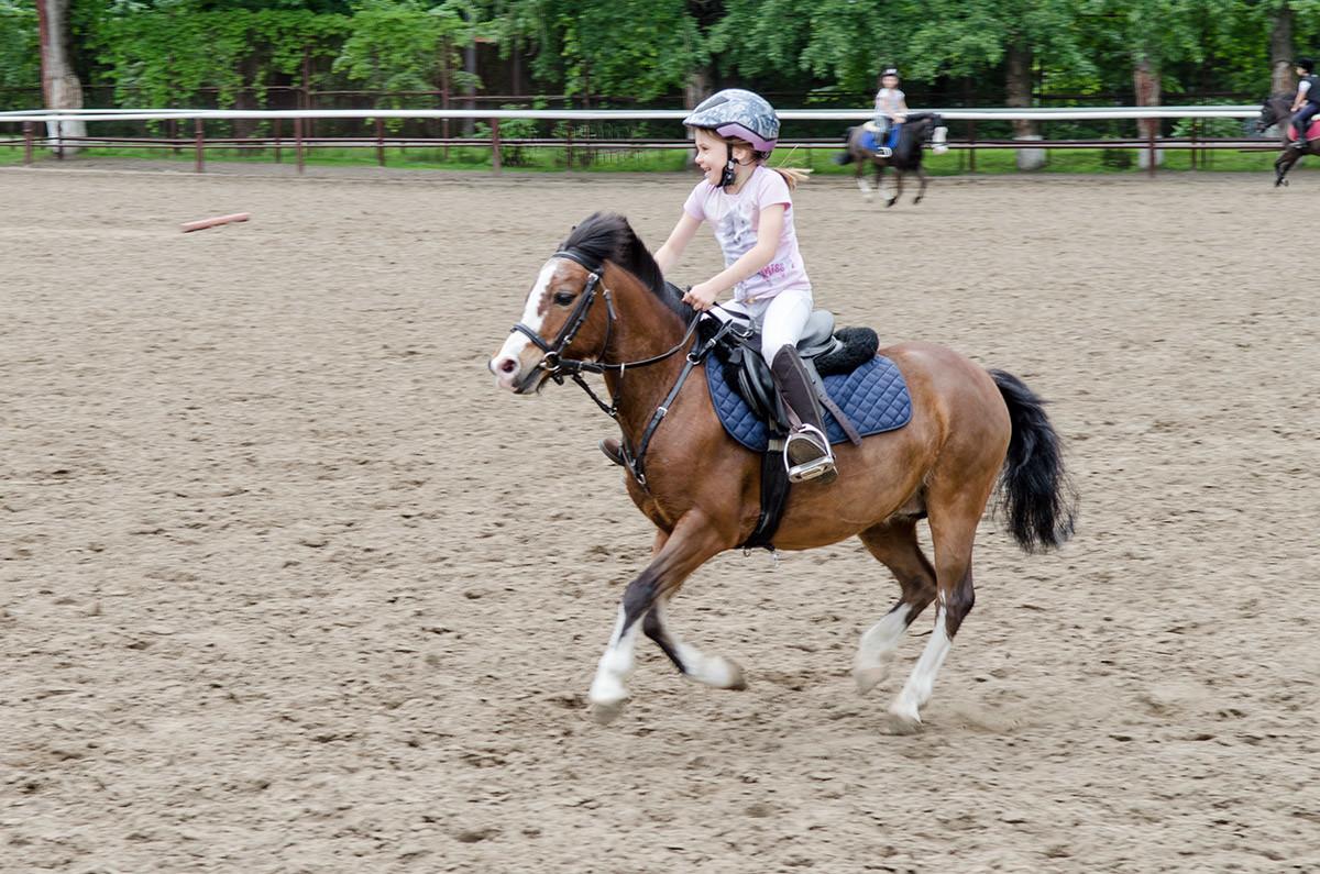Девочка на пони в конно-спортивной школе Измайлово