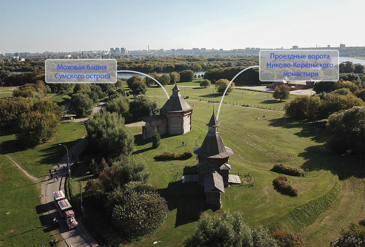 Высотный снимок территории музея-заповедника Коломенское конкретно показывает, где ныне располагаются проездные ворота Николо-Корельского монастыря.