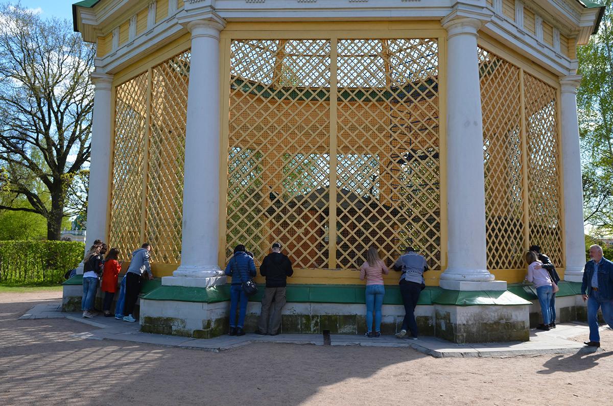 Архитектурно вольер для птиц в Кусково представляет классической формы ротонду, только с необычными стенами и крышей.