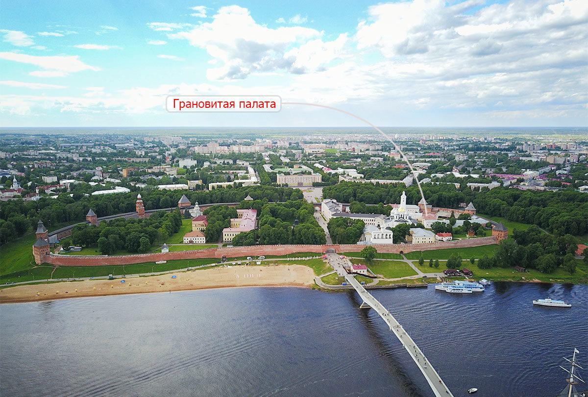 Расположение Грановитой палаты в новгородском кремле