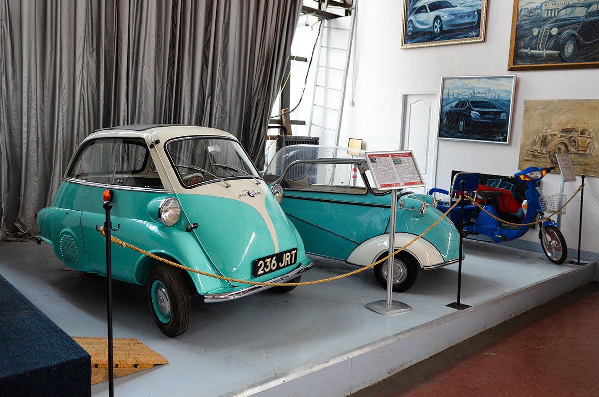 Музей Московский транспорт показывает первые авто БМВ, раньше выпускавшей холодильники, и машину Мессершмитта на основе кабины самолета.