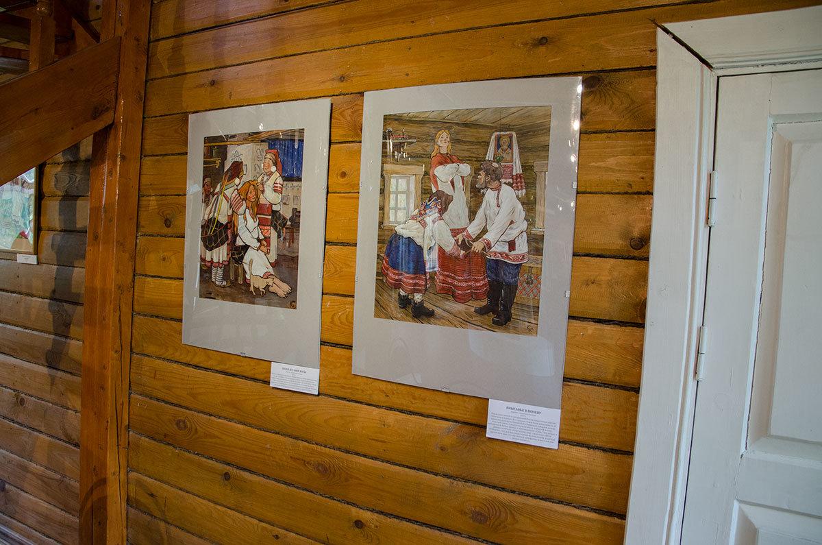 Картины ученицы Ильи Глазунова – Марии Подкопаевой в Каменной кладовой над оврагом изображают сцены из крестьянской жизни.