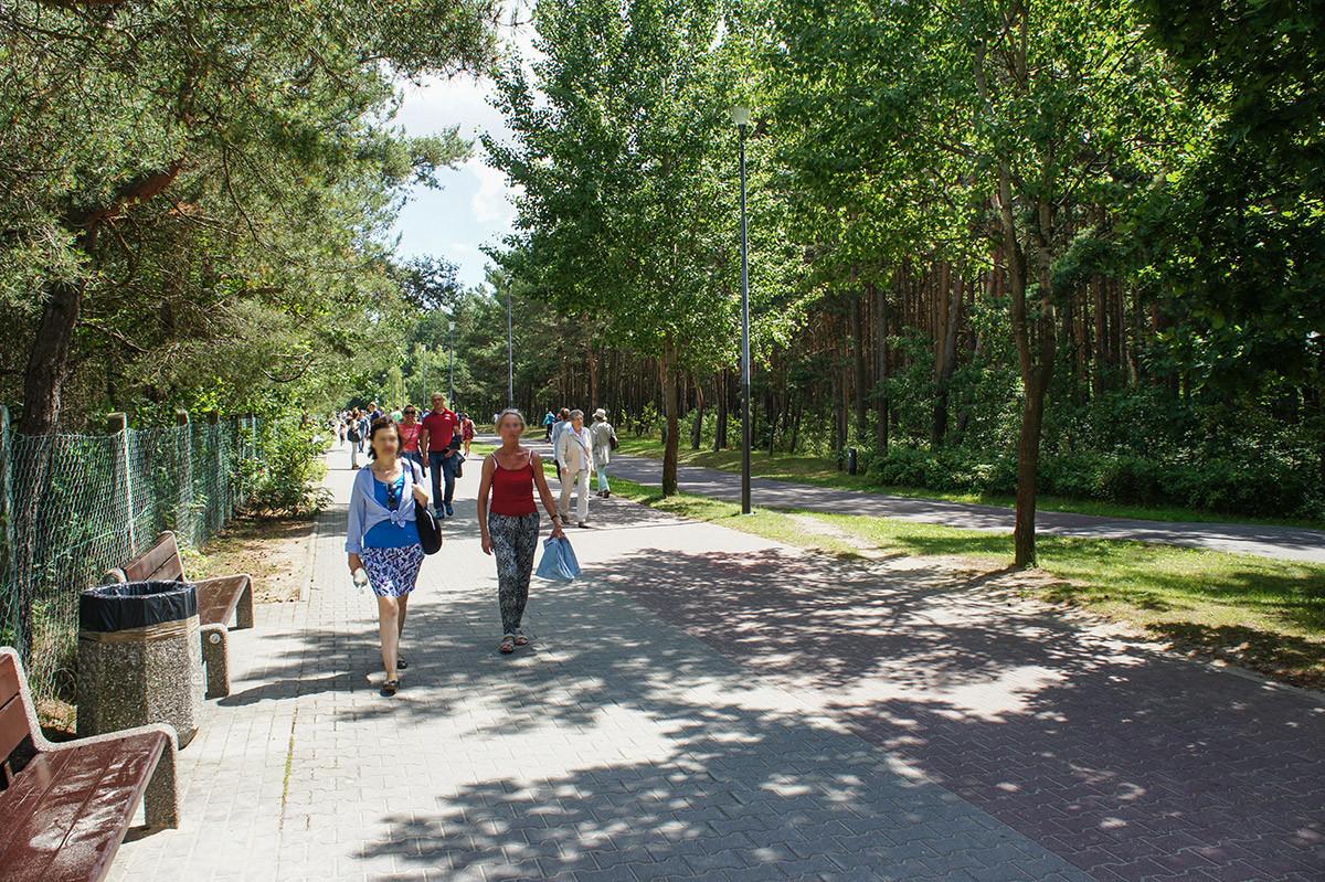Территория парка Рейгана огорожена металлической сеткой от купальщиков и загорающих на пляже Желитково.