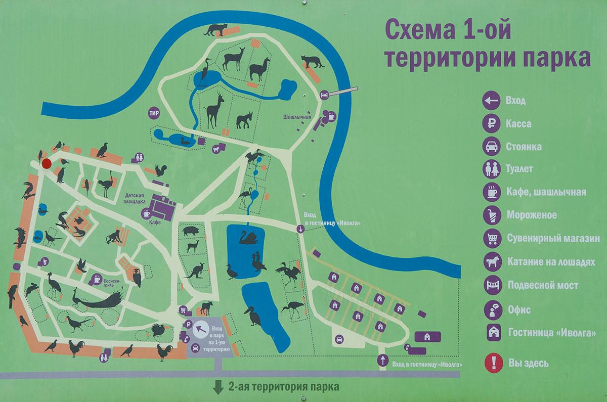 Для удобства посетителей устроители парка птиц Воробьи установили информационные щиты со схемой расположения видов животных и других объектов.