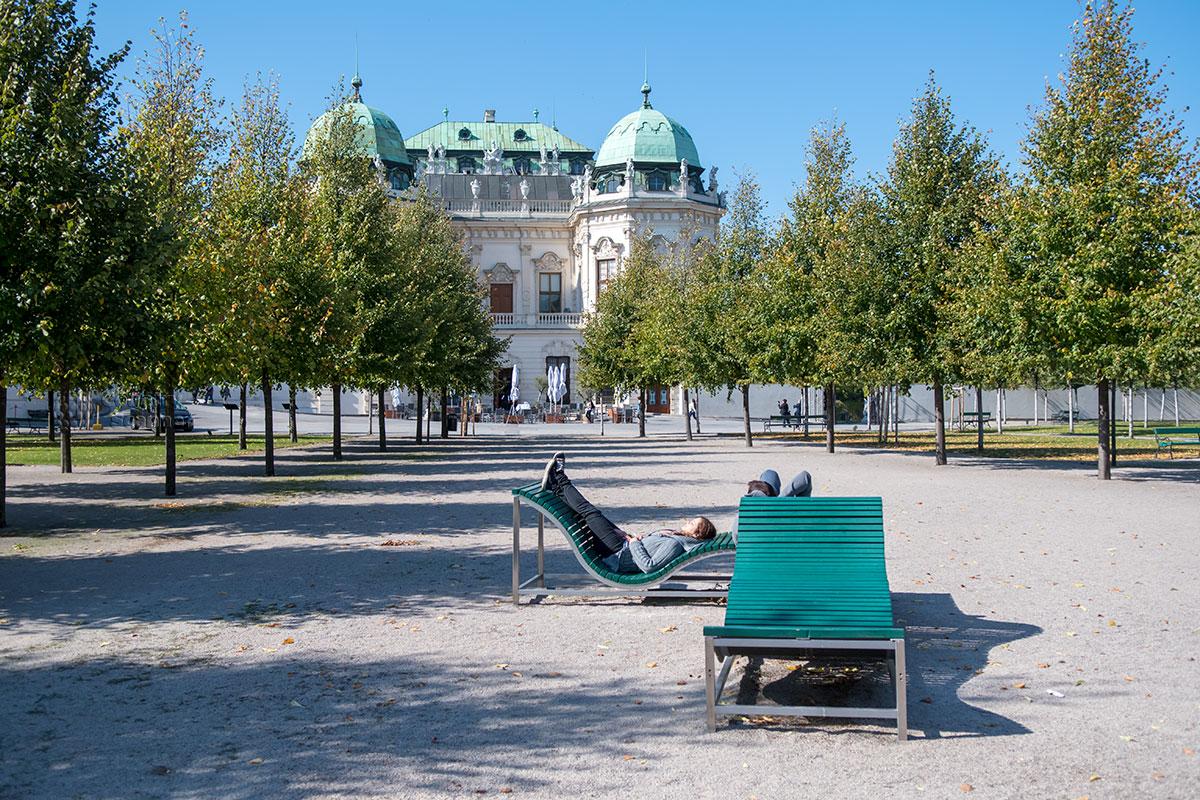 Радиальные шеренги деревьев сходятся ко входу на территорию Бельведера в Вене из Ботанического сада Венского университета.