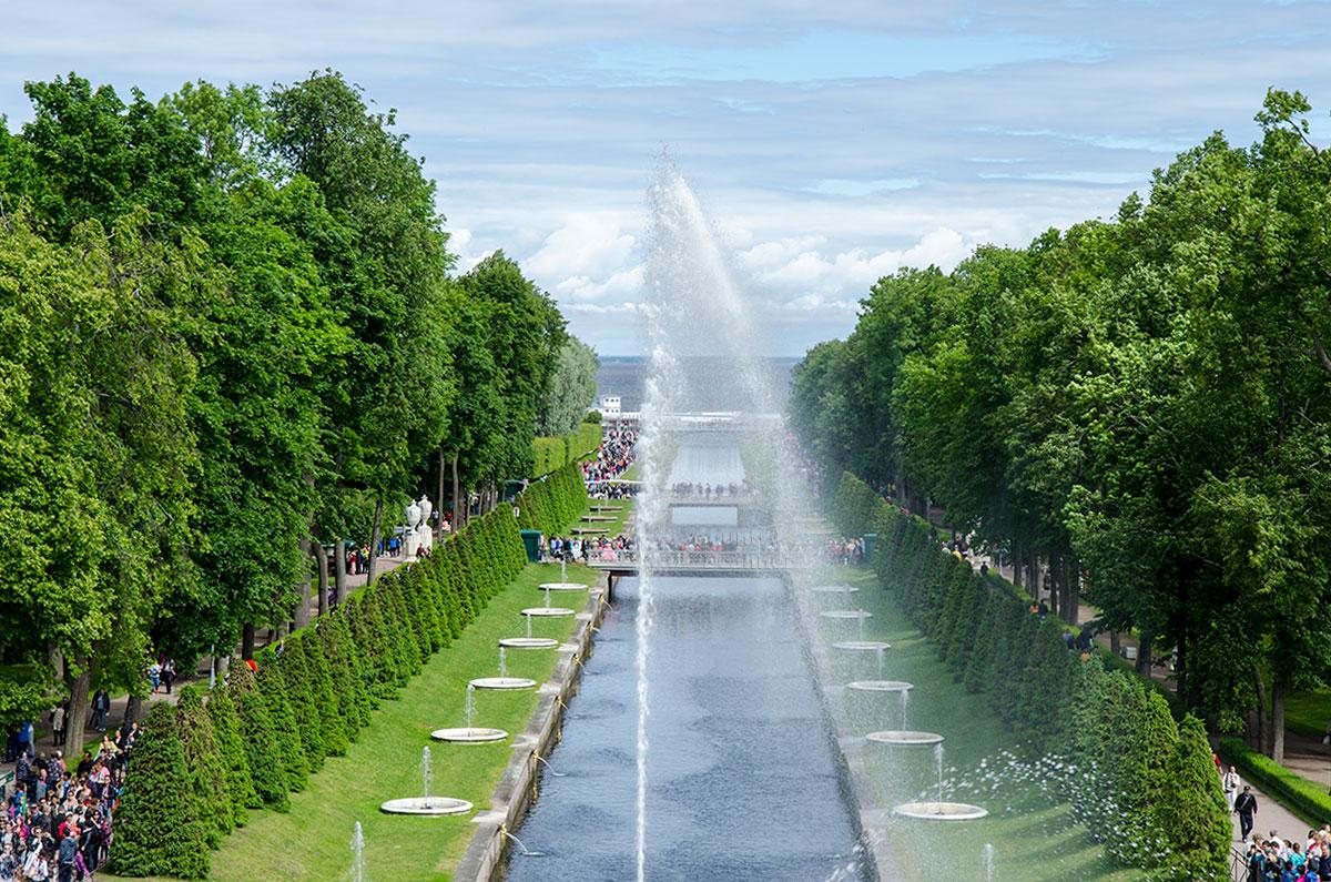 Водяные потоки многочисленных фонтанов Большого каскада собирает Морской канал, уносящий воду в Финский залив Балтийского моря.