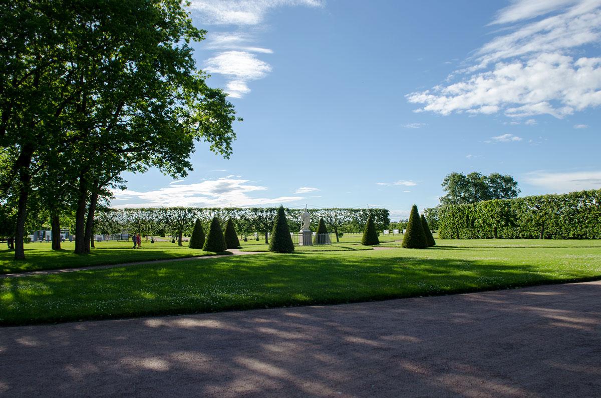 Западнее дворца Марли в Петергофе находится часть территории музея-заповедника, оформление которой в основном завершается.