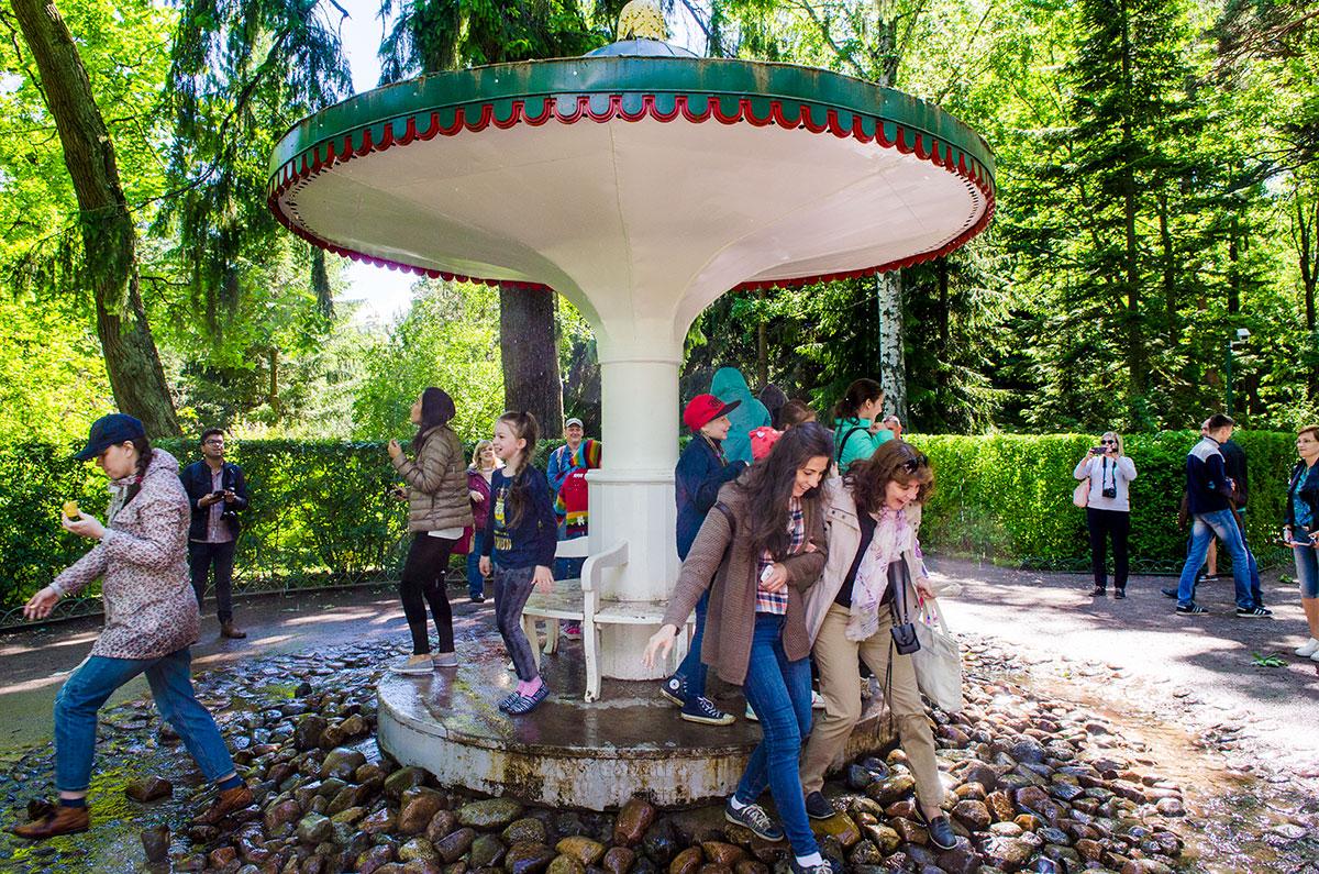 Некоторое время фонтан-шутиха Зонтик назывался Грибком, раскрашен был в красный цвет с белыми точками, как мухомор.