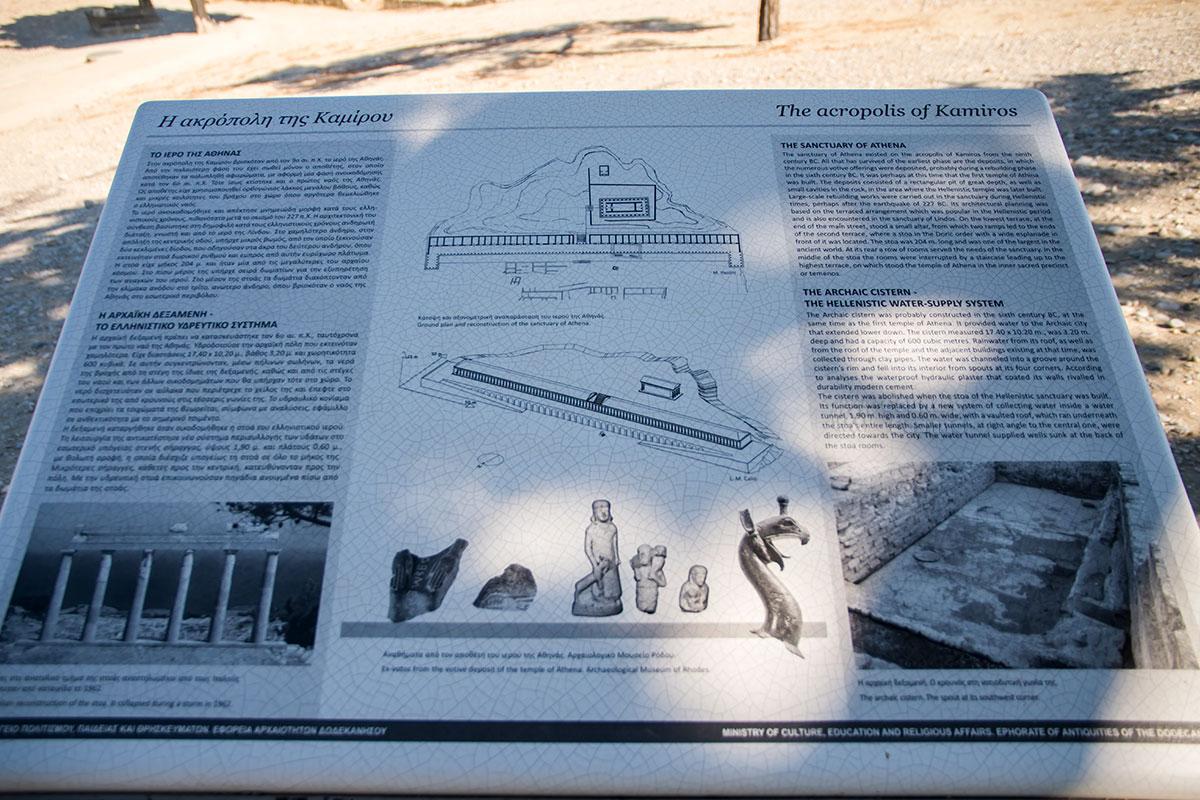 Одна из туристических пояснительных табличек показывает предполагаемый облик акрополя в Камиросе, от которого почти ничего не уцелело.