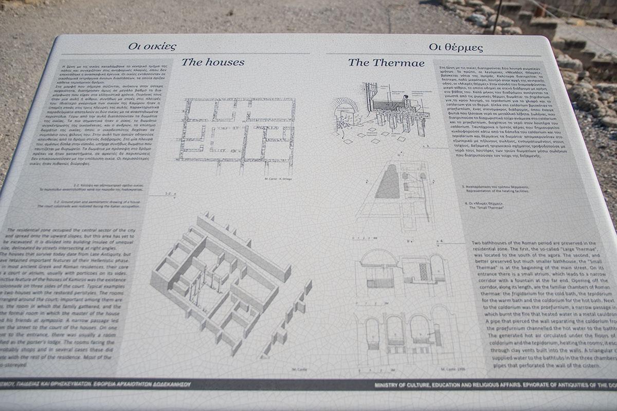 Пояснительный планшет для посетителей археологического заповедника Камирос информирует об устройстве городских объектов.