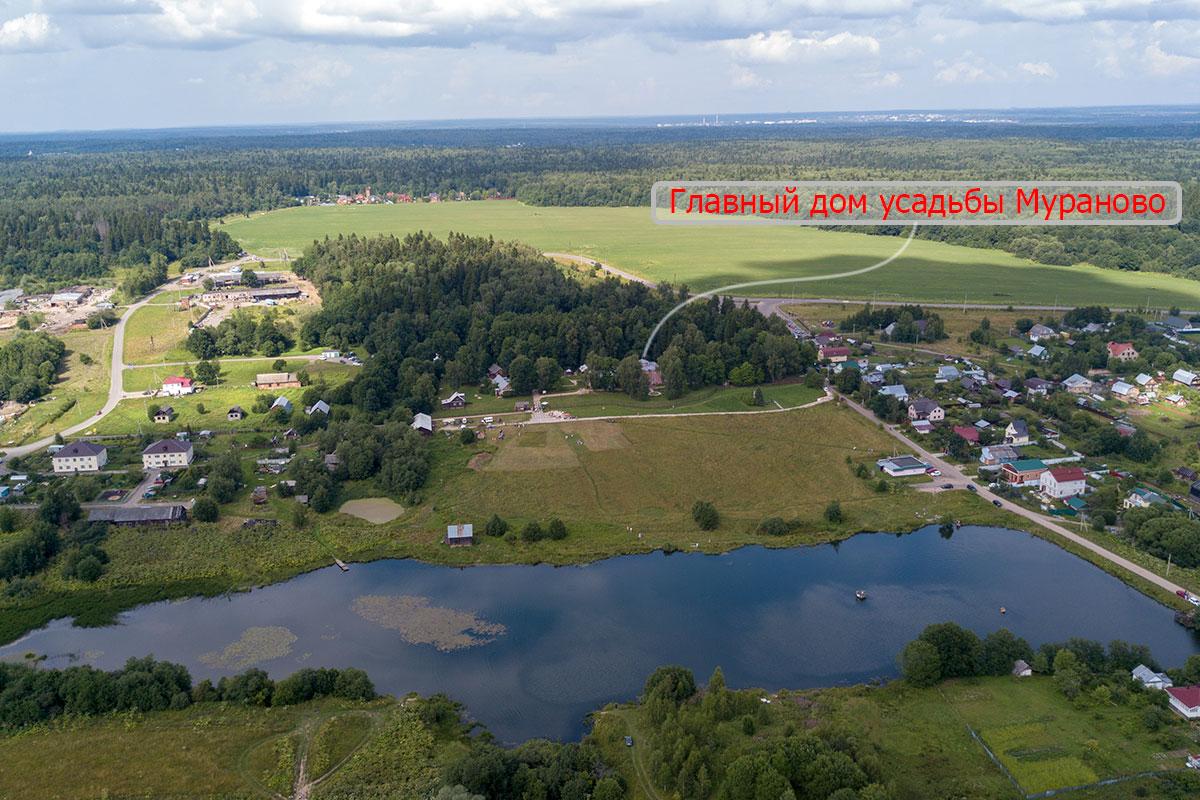 Расположение на местности музея-заповедника усадьба Мураново имени Ф.И. Тютчева наглядно демонстрирует высотная фотография.