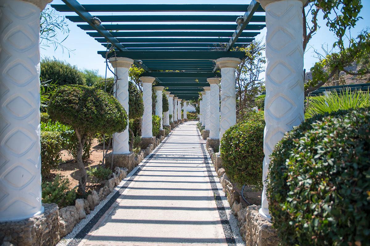Похожее на шпалерную галерею сооружение на территории парка курорта Источники Каллифеи привлекает мраморными колоннами и растительностью.