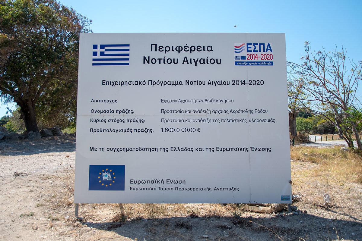 Из-за незавершенности исследований Акрополя Родоса его территория не снабжена пояснительными планшетами, кроме официальных сведений.