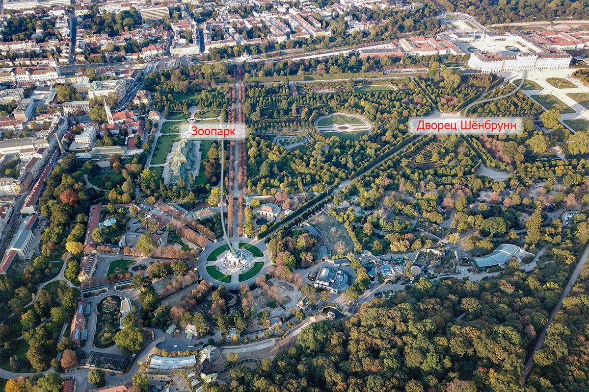 Обозначив на высотной фотографии императорский дворец и зоопарк Шенбрунна, мы обещаем указать и другие ближние и дальние достопримечательности.