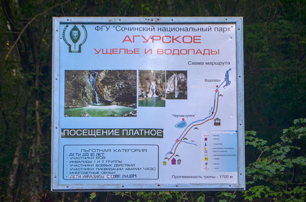 Прямо в городской черте Сочи находятся живописные Агурские водопады, организационно входящие в обширные владения национального парка.