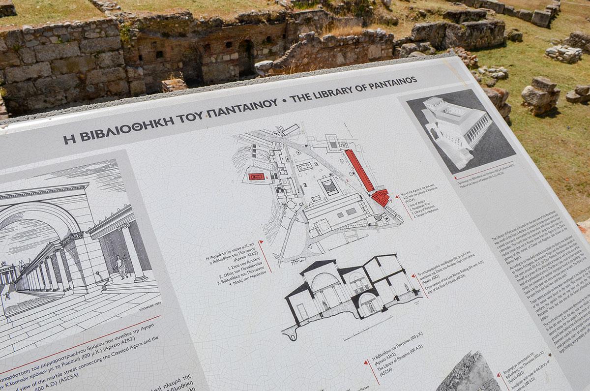 Как выглядела работающая Библиотека Пантаинос, демонстрирует информационный планшет у входа на территорию, составленный по научным данным.