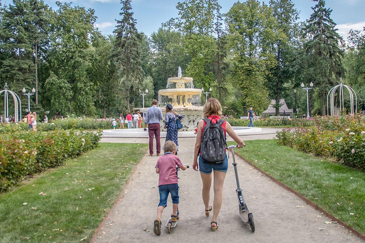 Восстановленный Розарий с фонтаном в центральной части – наиболее красочный цветник Парка Горького, его подлинное украшение.
