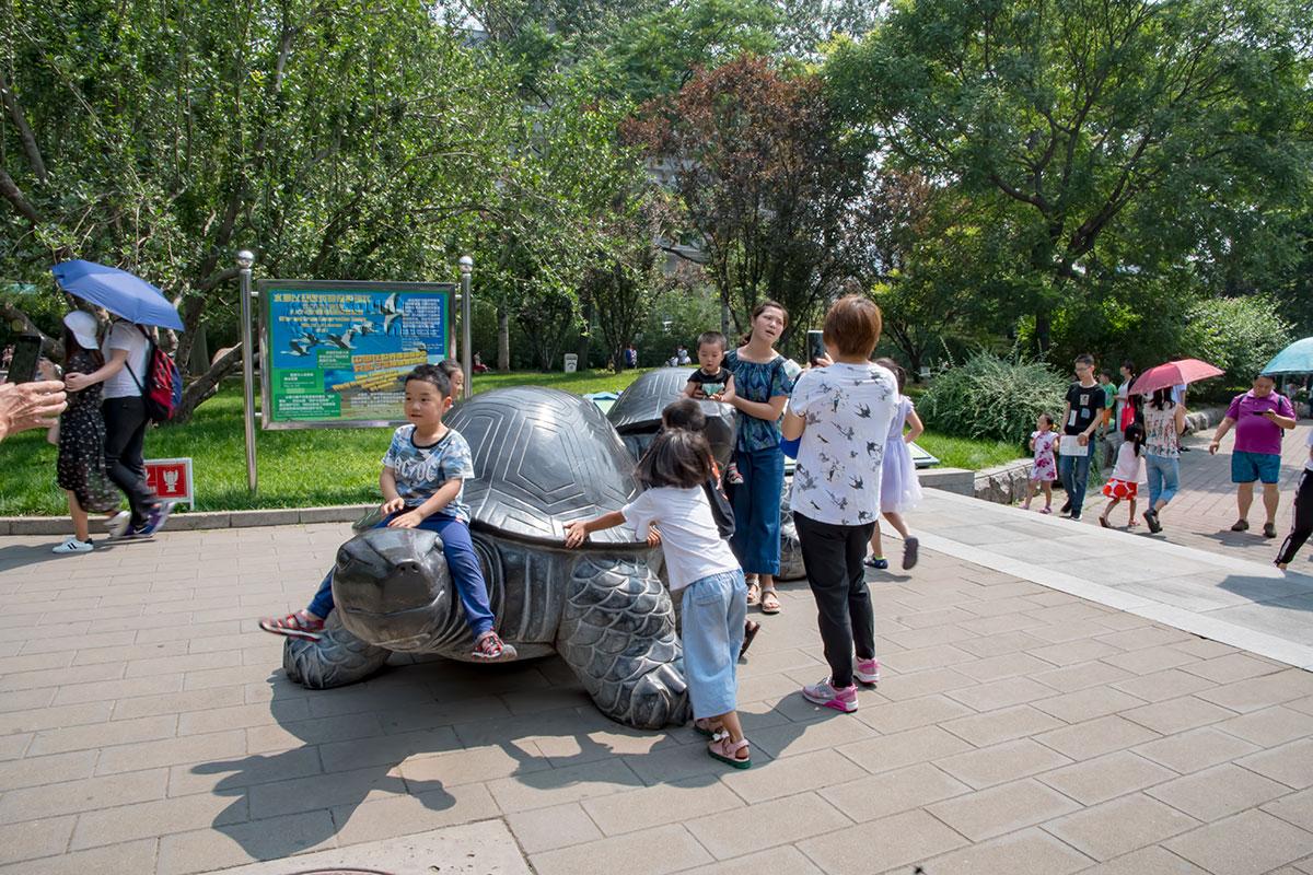 Пекинский зоопарк следует мировым тенденциям в оформлении, устанавливая скульптуры из бронзы около каждого раздела своей экспозиции.